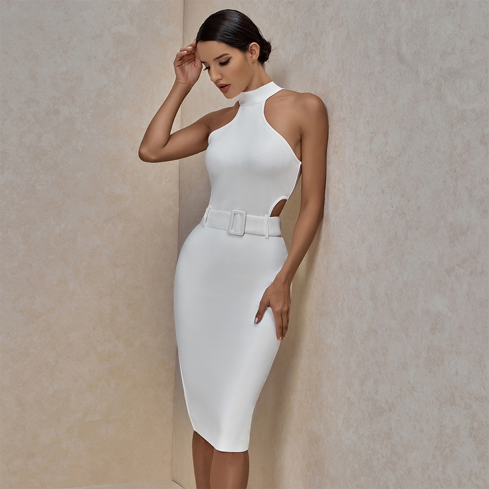 Ocstrade White Bandage Dress 2020 Summer New Arrival Women Sexy Midi Bodycon Club Celebrity Evening Party