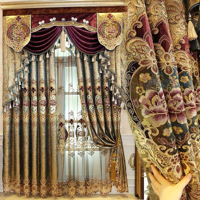 Estilo europeu real ouro valance luxo cortinas para sala de estar janela cortina quarto cozinha/hotel