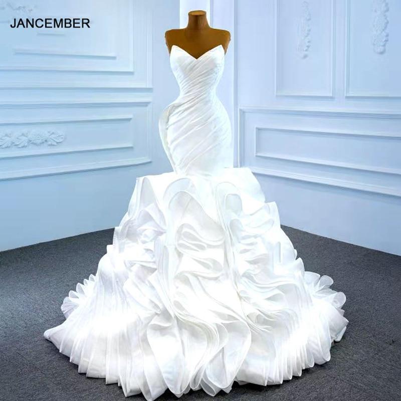 J67221 أنيقة وفكرية بسيطة الأبيض الكشكشة Meimaid فستان الزفاف 2020 الخامس الرقبة مع بلا أكمام الدانتيل حتى الظهر