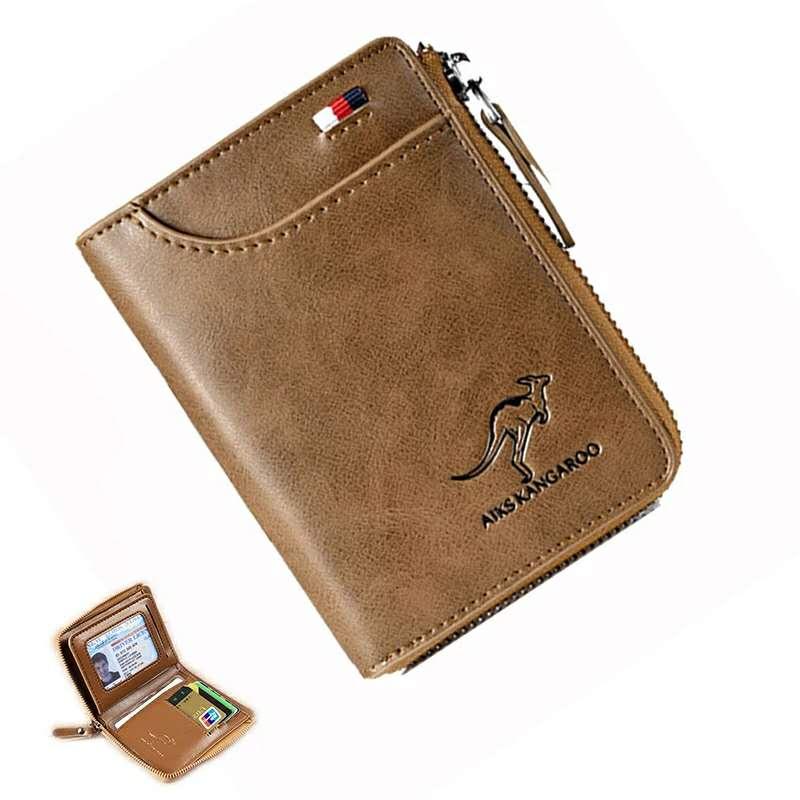 Брендовые мужские кошельки из натуральной кожи, винтажный маленький бумажник на молнии с отделением для удостоверения личности и кредитно...