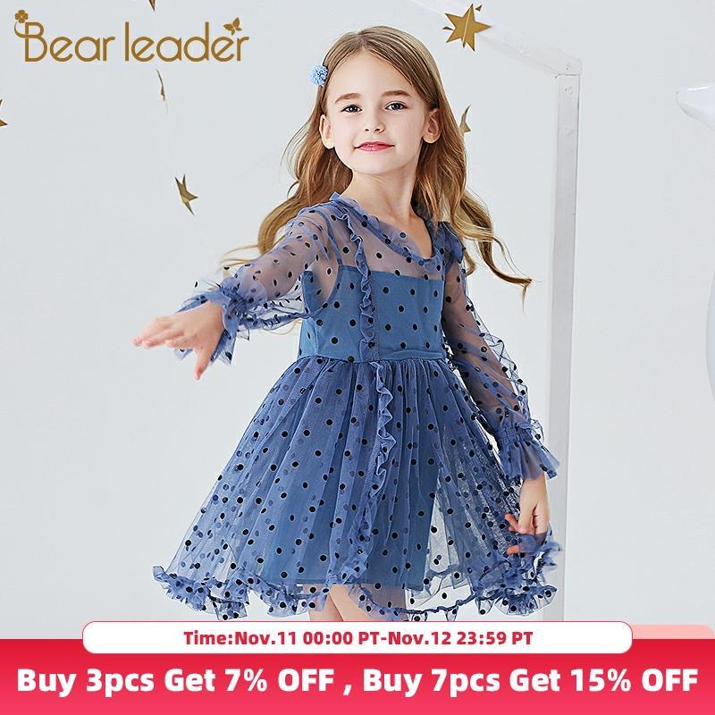 Urso líder meninas vestidos elegantes nova moda crianças polka dot trajes meninas vestido de princesa bonito malha roupas crianças