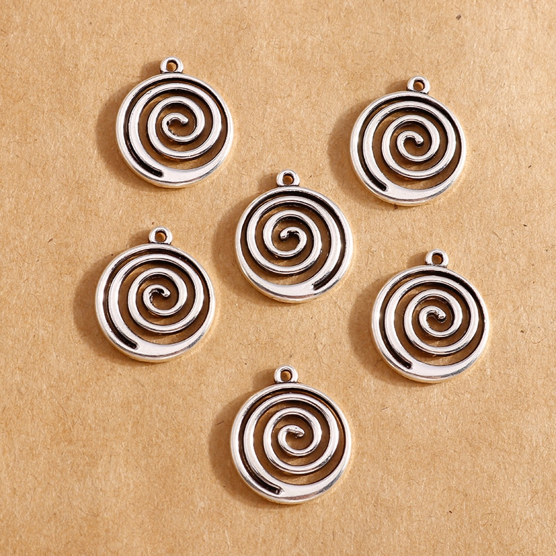 10pcs 15*18mm Alloy Swirl Round Charms for Making Bracelets Pendants Necklaces Earrings Handmade DIY Jewelry Crafts Accessories недорого