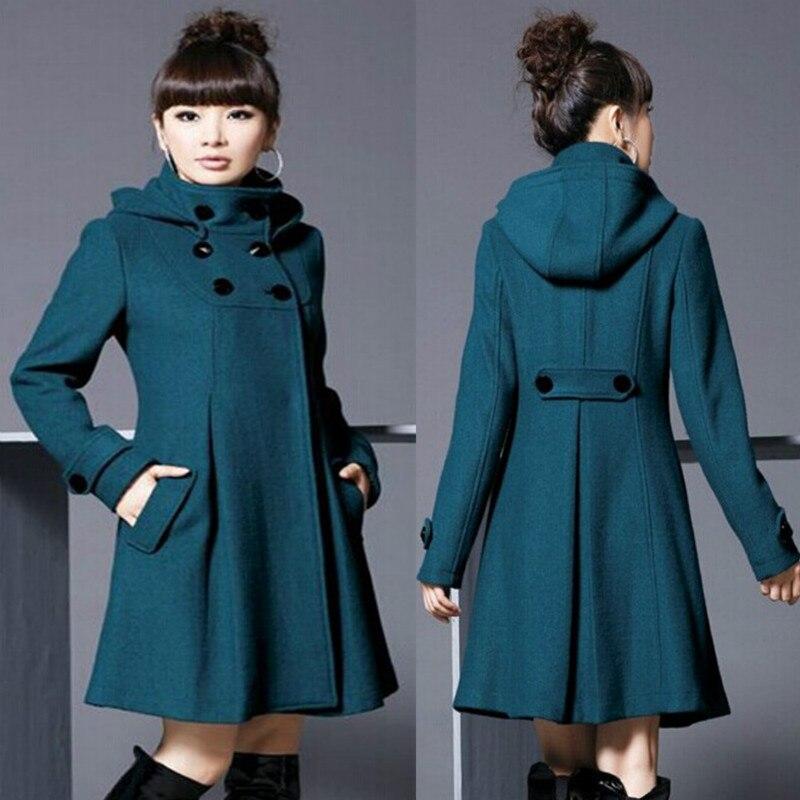 Chaqueta de mujer, abrigo de lana negro largo, Otoño Invierno 2020, nueva moda con capucha, abrigo de doble botonadura, rompevientos, ropa de abrigo femenina