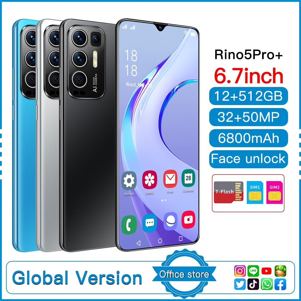 Rino5 Pro الهواتف الذكية أحدث 2021 6.0 بوصة 12 + 512GB الوجه بصمة فتح 32 + 50 ميجابكسل 10 كور 6800mAh Andriod الهاتف المحمول MTK6889