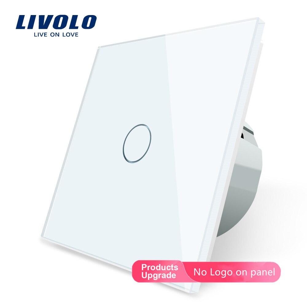 Livolo الأبيض والزجاج والكريستال ، الجدار التبديل ، لمس التبديل ، الاتحاد الأوروبي القياسية ، C701-11 ، 220 ~ 250V تعمل باللمس جدار ضوء التبديل
