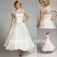 free shipping see through 2015 new arrival cap sleeve a line high neck tea length custom lace appliques cheap wedding dress