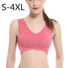 S-4XL femmes sous-vêtements Sexy Lingerie dentelle couleur unie avant croix côté boucle sans fil Push up respirant sommeil sport soutien-gorge