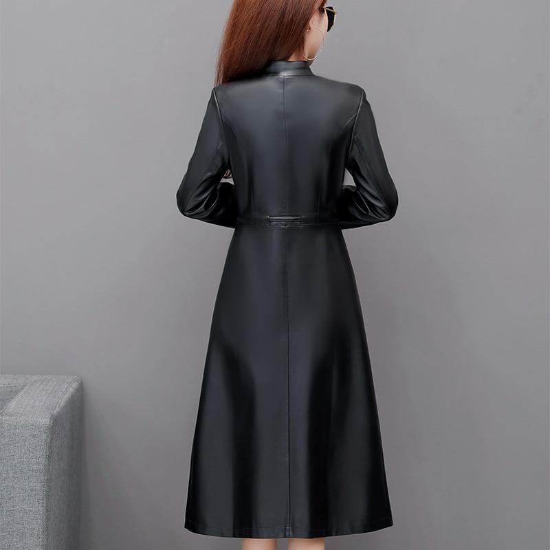 Women Elegant Faux Sheepskin Trench New Arrival Ladies Soft PU Leather Jackets Coat M-5XL Female Button Belt Outerwear Plus Size enlarge