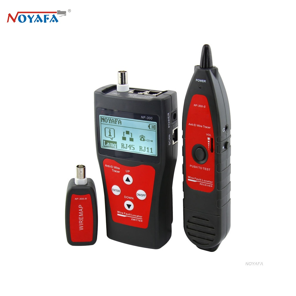 NOYAFA NF-300 كابل شبكة محلية تستر RJ45 قياس طول الكابل شبكة رصد المقتفي سلك تحديد موقع مكافحة التداخل لهجة التتبع