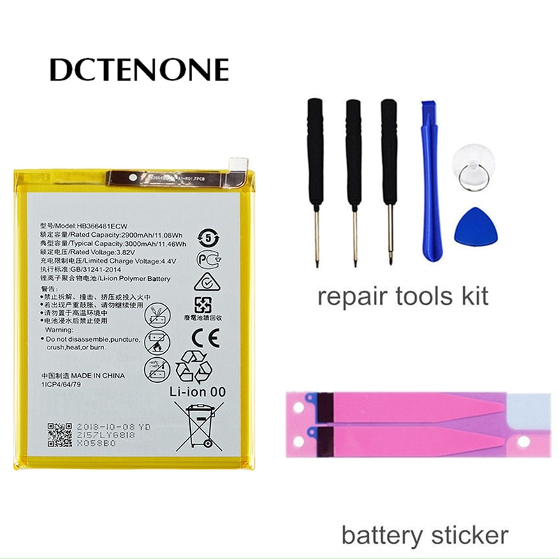 DCTENONE Real HB366481ECW For Huawei p9 /p9 lite honor 8 p10 lite y6 II p8 lite 2017 p20 lite honor 5C Ascend P9 battery 2018 new 100% original hb366481ecw real 3000mah battery for huawei p9 ascend p9 lite g9 honor 8 5c battery