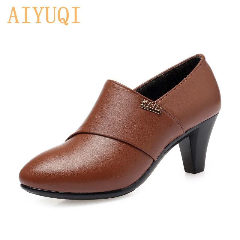 AIYUQI-حذاء نسائي من الجلد الطبيعي بكعب عالٍ ، حذاء مكتب ، مجموعة خريف 2021 الجديدة