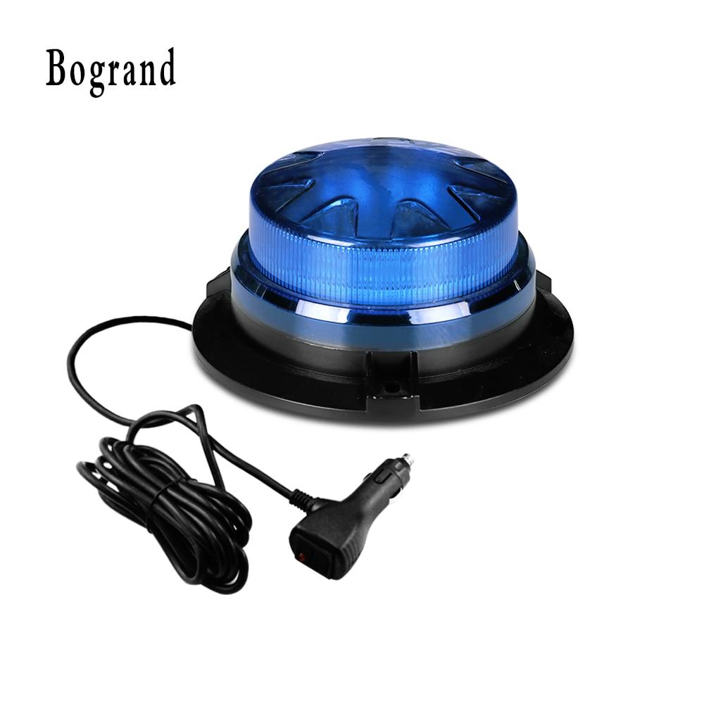 Bogrand 9-28V  Mini Led Blue Rotating Ambulance Emergency Strobe Warning Police Beacon Light With Magnet