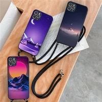 ins artistic aurora landscape phone case for iphone 7 8 11 12 x xs xr mini pro max plus strap cord chain lanyard soft
