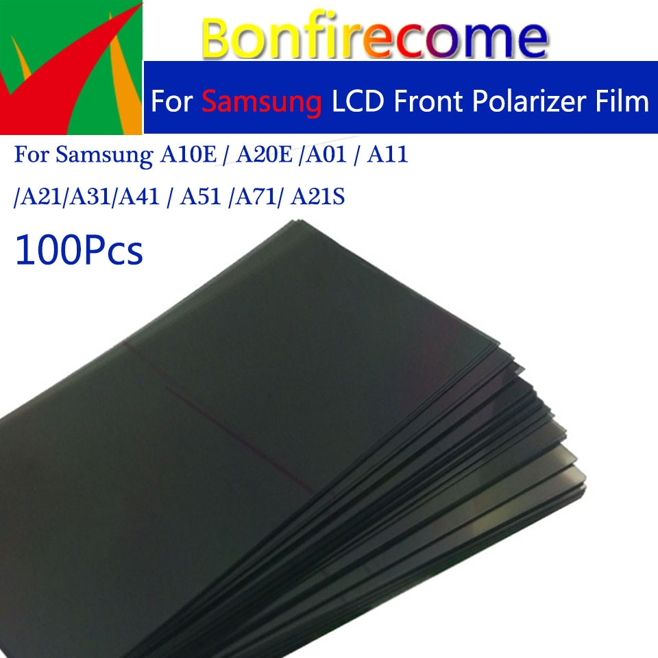 100 قطعة الكثير LCD الجبهة المقطب الفيلم لسامسونج A10E A20E A01 A11 A21 A31 A41 A51 A71 A21S LCD تصفية الإستقطاب فيلم بولارويد