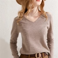 spring autumn new wool sweater womens knit pullover simple and classic loose v neck basic all match bottoming shirt hot sale
