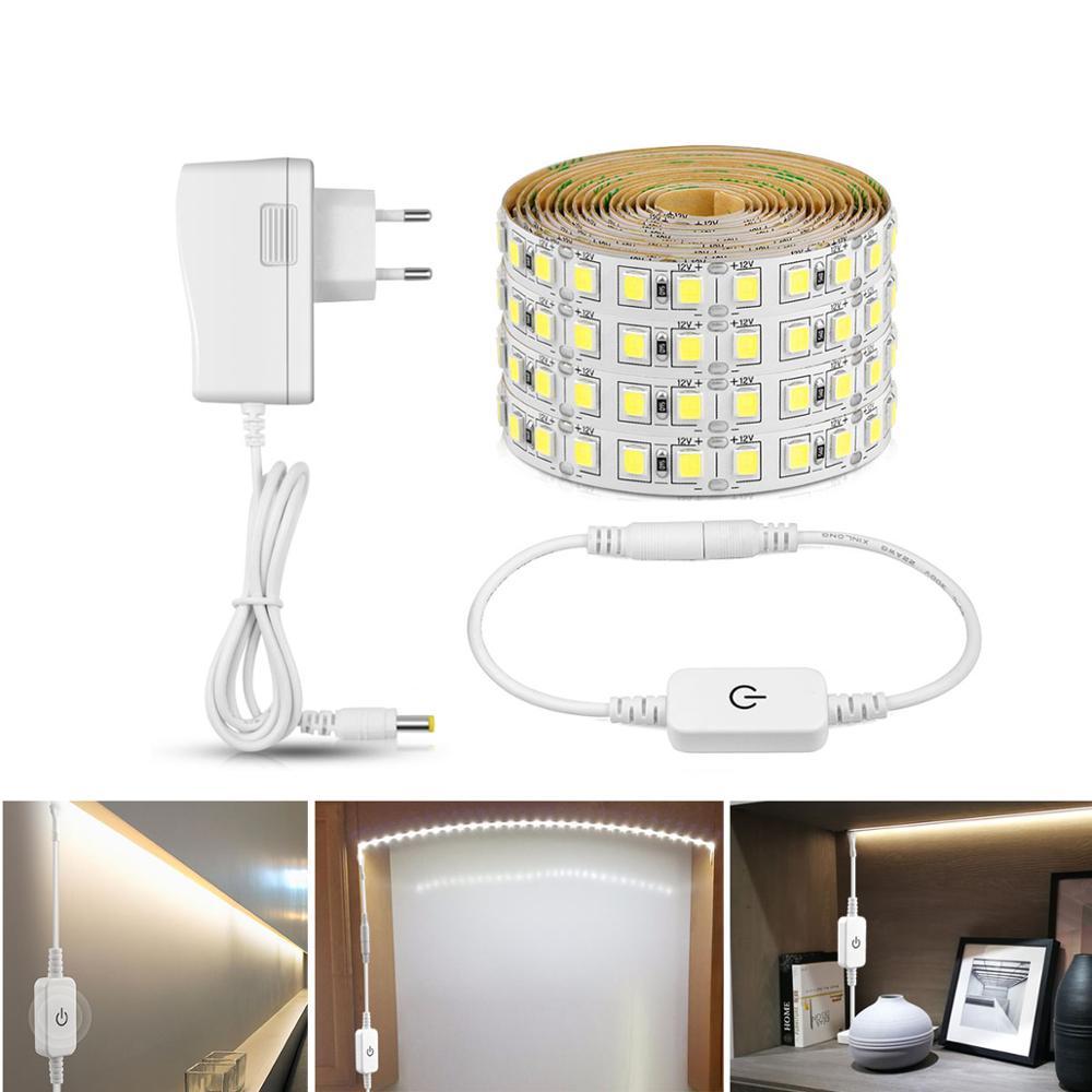 5M 4040 SMD Super brillante DC 12V luz LED para debajo de gabinete, Interruptor táctil regulable, cinta de lámpara Flexible de encendido/apagado para decoración hogareña Cocina