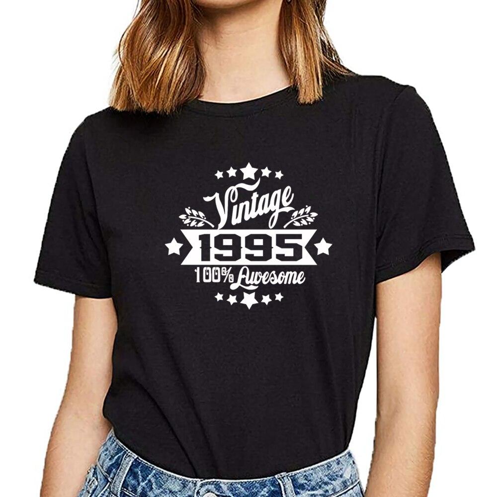 Camisetas para mujer vintage 1995 divertida camiseta blanca de algodón