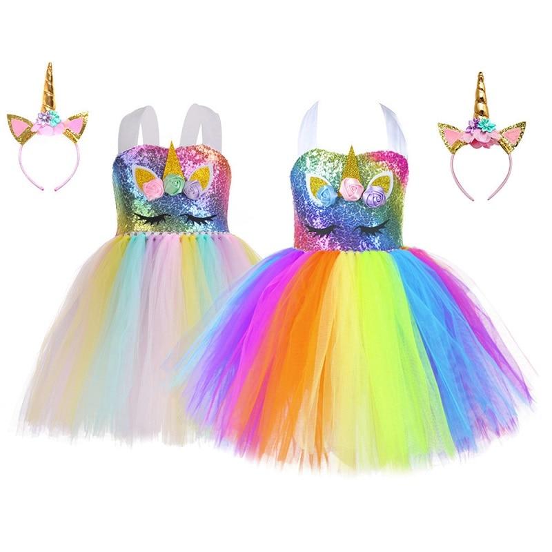 1-10 jahre Mädchen Einhorn Kleid Prinzessin Tutu Cosplay Kleid Liefern Regenbogen Pailletten Einhorn Party Kleid KF594