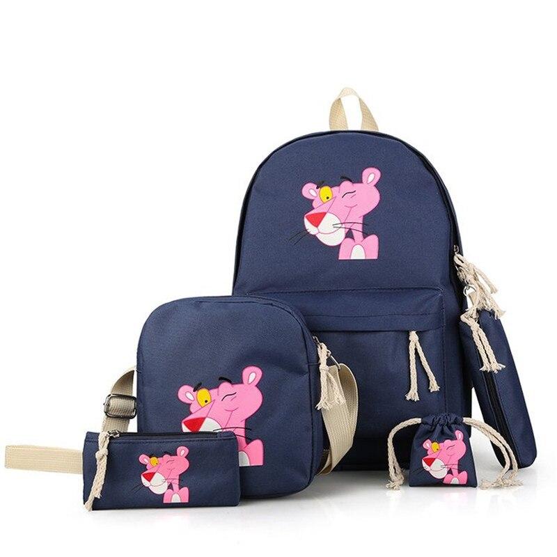 Mochila de dibujos animados pantera rosa linda para mujer Mochila escolar de lona para niñas Mochila de viaje de mujer bordada mochilas escolares Mochila