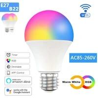 Ampoule intelligente WiFi 15W E27 B22  variable RGB   CCT  multicolore  commande vocale  fonctionne avec Alexa Google Home