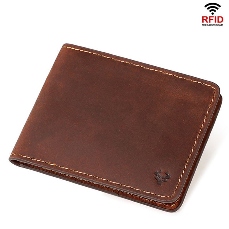 Genuine Leather Men's Vintage Wallet High Quality RFID Blocking Short Thin Wallets Casual Card Holde