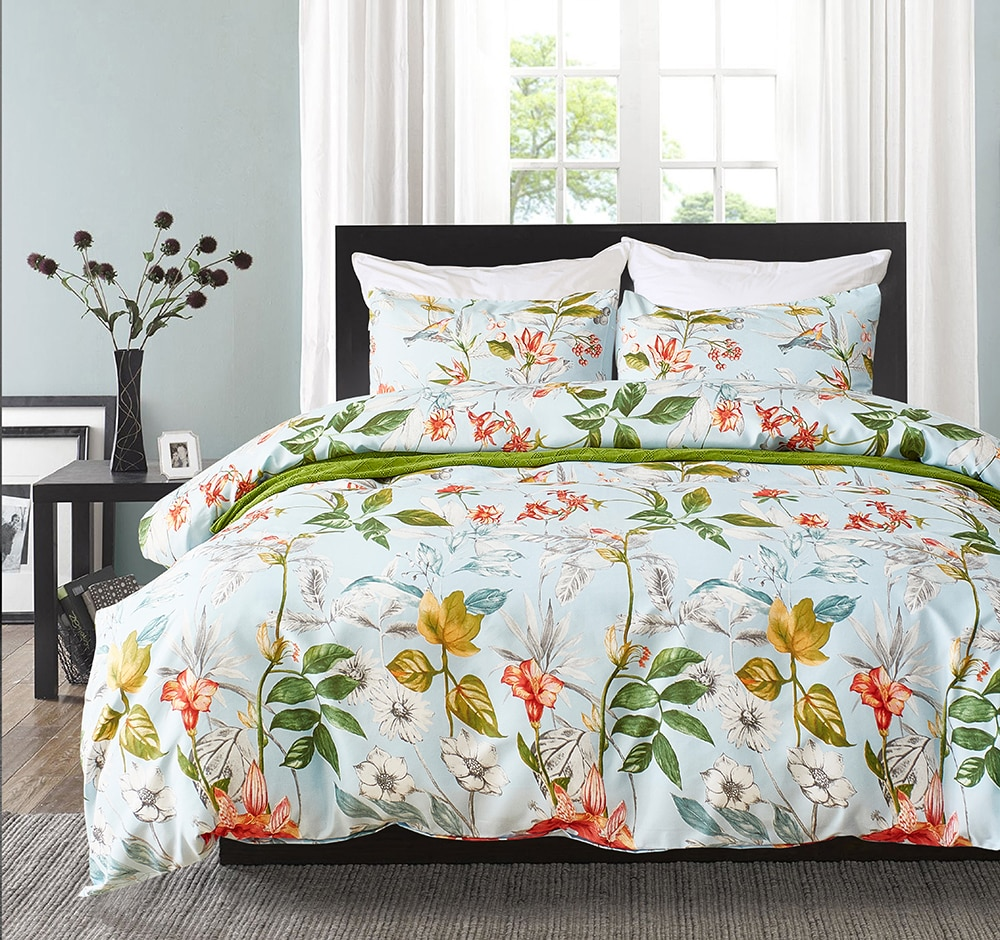 Fashion Flower Bed Linens Simple Bedding Set Bedclothes Duvet Cover Set Bed Sheet and Pillowcase Queen King Size