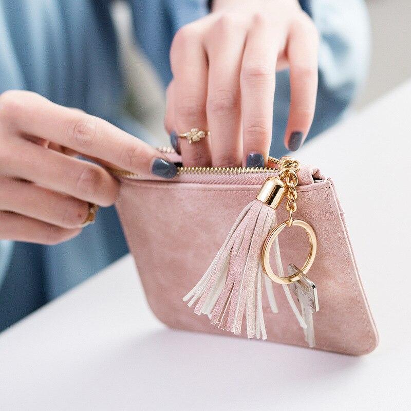 Monedero de Aosbos para mujer pequeño estuche para llave Mini cartera Linda bolsa de dinero titular Zip monedero bolso de embrague para chica chico borla bolsa de la moneda