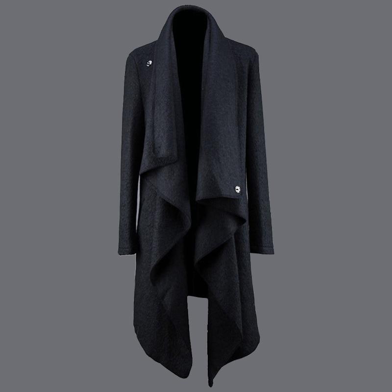 Abrigo largo de lana de moda para hombre, abrigo largo irregular punk...