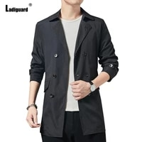plus size 3xl mens vintage long trench coats trend 2021 spring autumn fashion lapel collar overcoats men lightweight outerwear