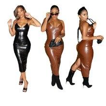 Hottest Women PU Leather Bodycon Dresses Spring Sexy Spaghetti V Neck Sleeveless Back Split Fashion