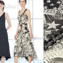 Vêtements Vintage en tissu mousseline de soie   style américain, imprimé de drapeau, 100% soie naturelle, pour robe en tissu telas fabrc 8mm SP5381, livraison gratuite