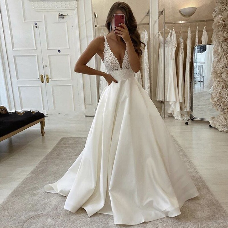 Eightale Satin Wedding Dresses 2020 V-Neck Lace Appliques Buttons Custom Made A-Line Wedding Gowns Bride Dress Vestido De Noiva ha084 eightale wedding dresses boho v neck appliques lace buttons ball gown wedding gowns bride dress vestidos de noiva