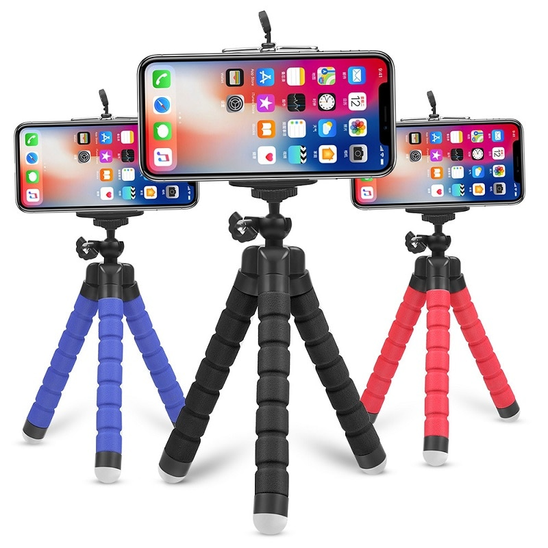 Mini esponja Flexible pulpo trípode para iPhone Huawei teléfono móvil Smartphone trípode para Gopro 9 8 7 5 Osmo Cámara