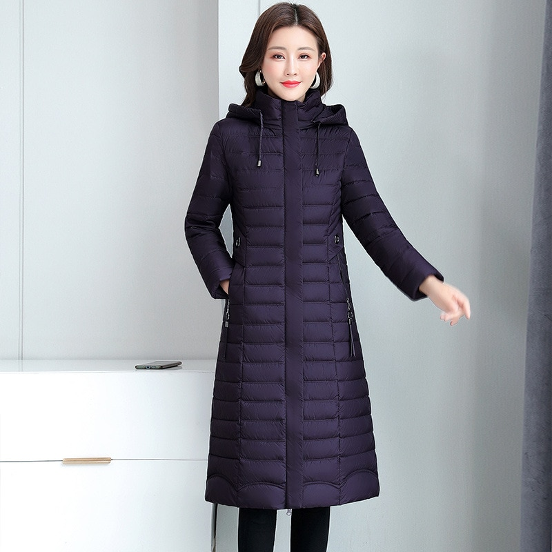 Женские парки, зимнее пальто с капюшоном, пуховые хлопковые куртки, новые женские облегающие клетчатые Длинные теплые куртки, Высококачест...