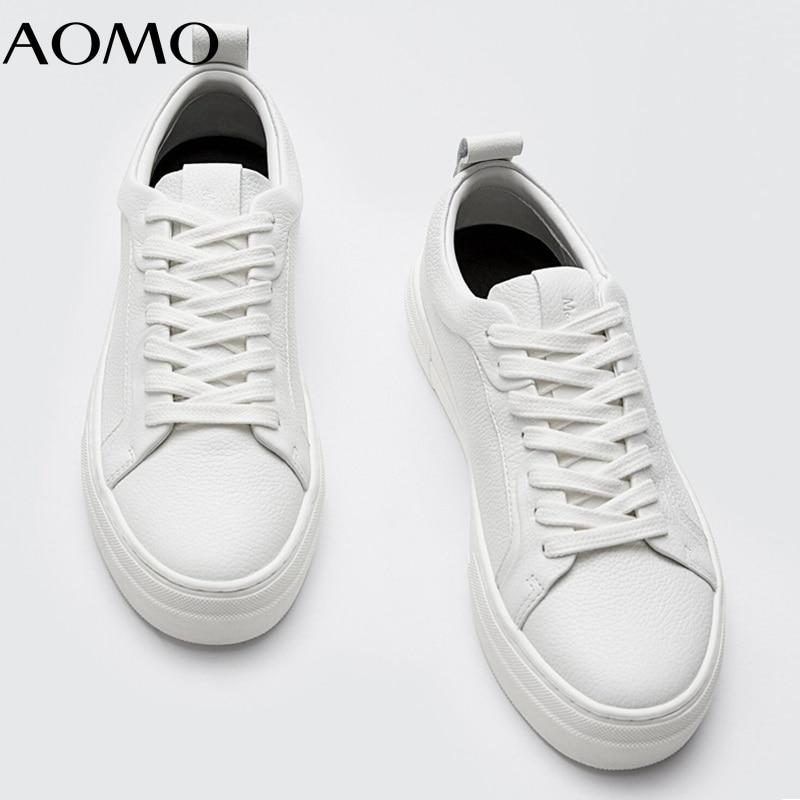 AOMO موضة الأبيض جلد البقر الحقيقي أحذية رياضية أحذية مفلكنة غير رسمية أحذية النساء AZH21