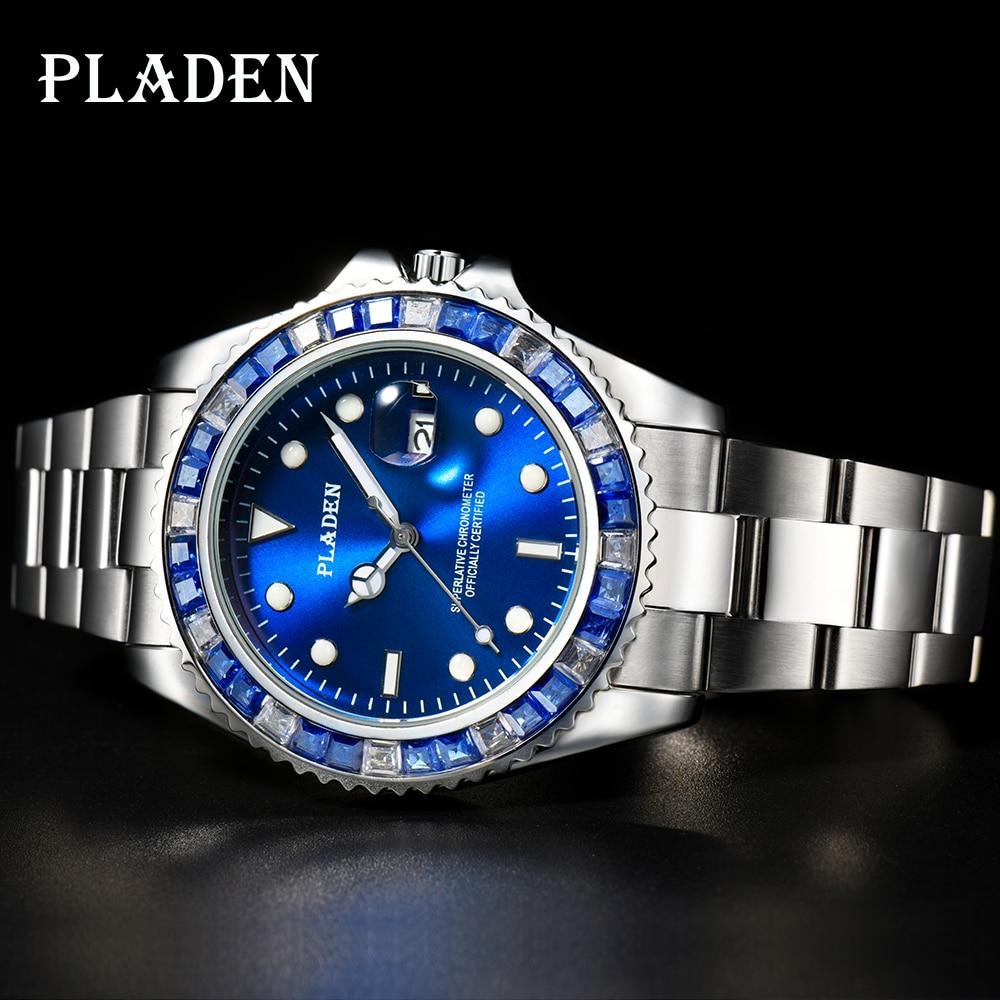 حزام بلادن رجالي أزرق مربع الماس الفولاذ المقاوم للصدأ حزام الأمريكية Reloj السباحة الصبي الشكر Mannen الكوارتز Horloges