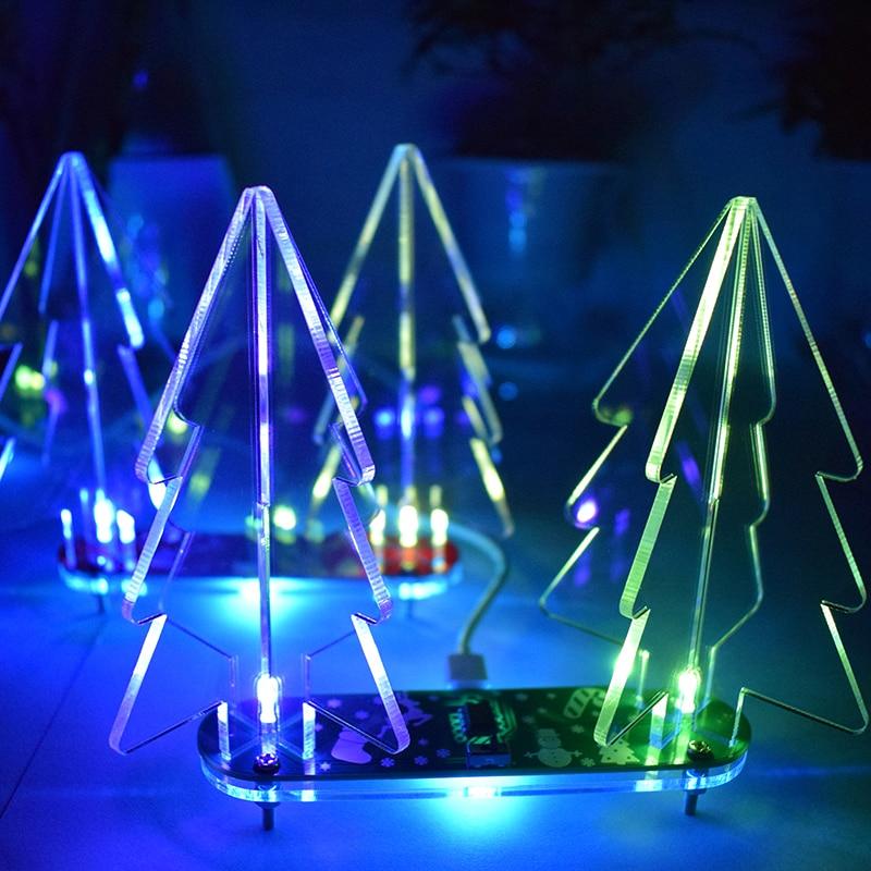Mini árvore de natal diy mudança de cor cheia led acrílico 3d árvore de natal kit aprendizagem eletrônica decoração de natal para casa