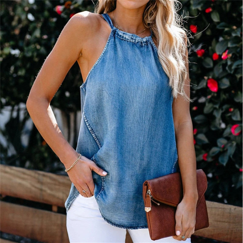 Women Denim Sleeveless Halter Tanks Top 2020 Summer High Street Beach Holiday Homewear Casual  Vest Camis
