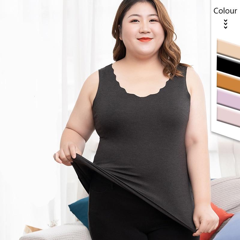 Gobetter 2021 Women Thermal Underwear Warm Tops Body Vest for Women Sleeveless Slim Seamless O Neck Girls Plus Size Warmer Vest