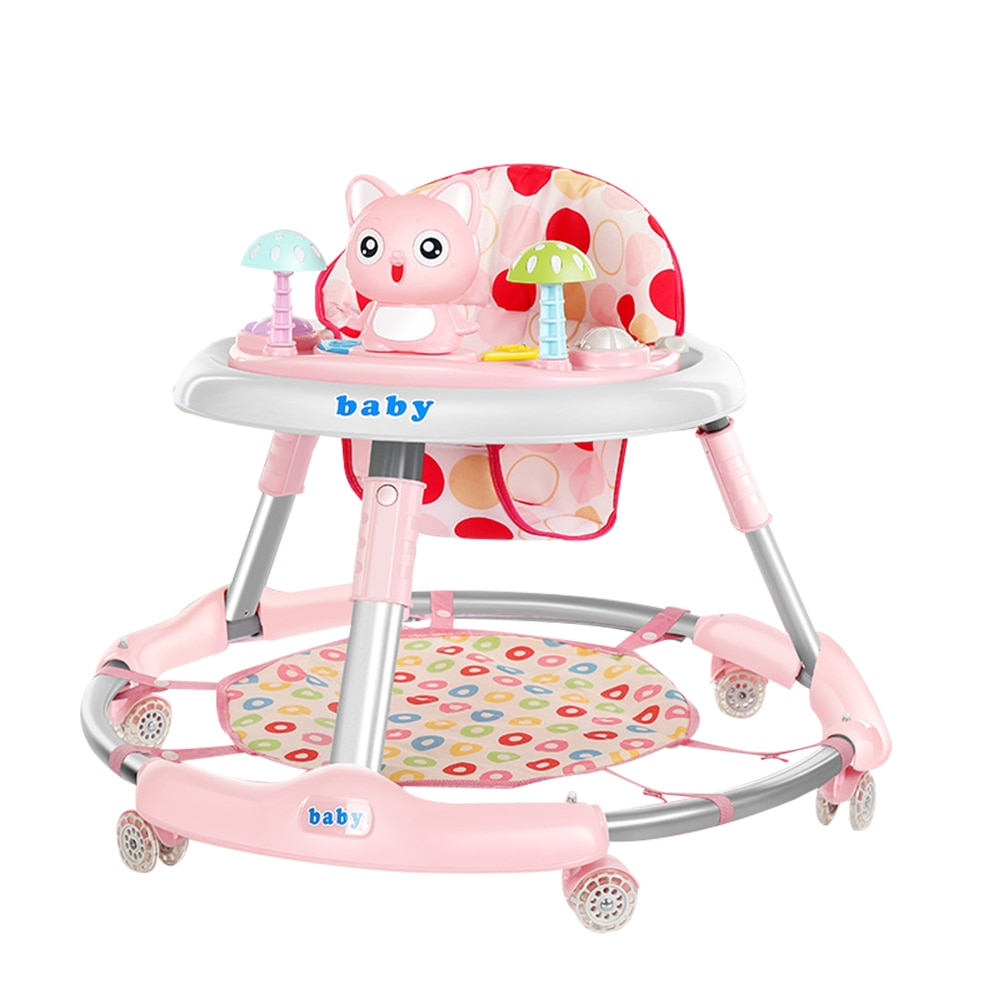 Cute Cat Foldable Baby Walker with Wheel Music Anti Rollover Car with Activity Tray Adjustable Seat Height Toddler Learn to Walk