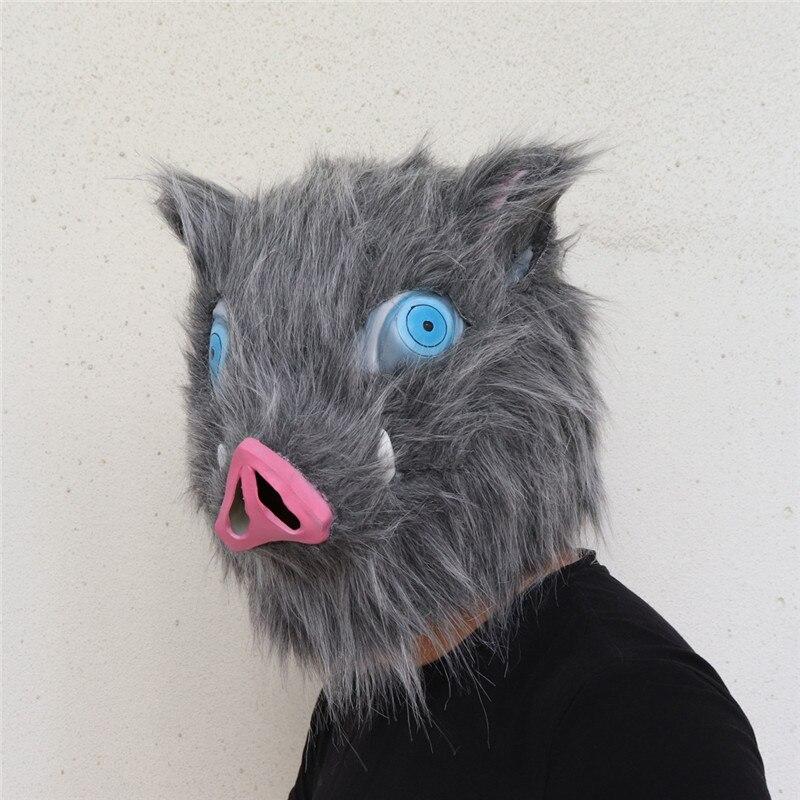 Máscara Demon Slayer Kimetsu No Yaiba Demon Slayer Hashibira Inosuke Cosplay de algodón de látex pelo de cerdo máscaras artificiales