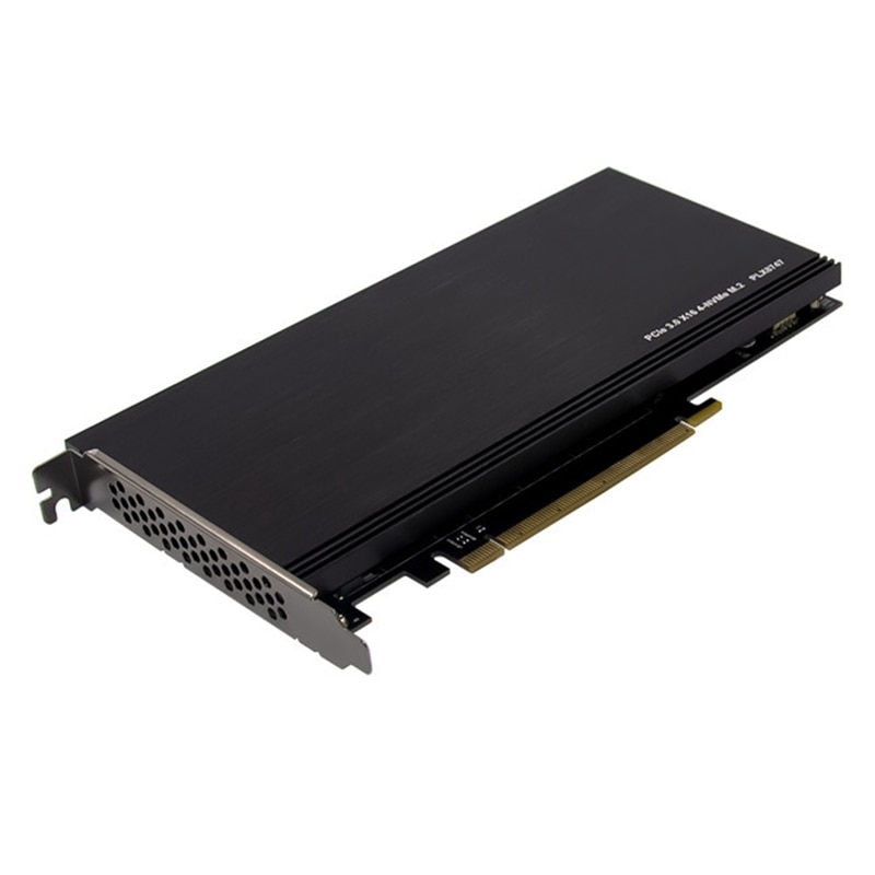 PCI-E 3.0 X16 PLX8747 to 4XM.2 NVMe SSD Riser Card Adapter for Miner BTC Mining Expansion Card