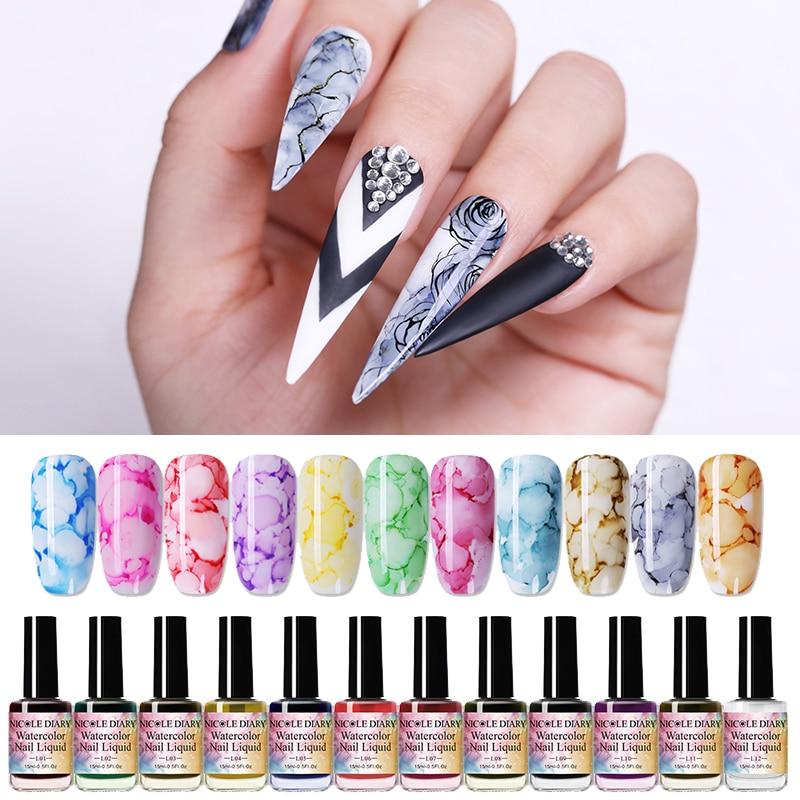 Набор акварельных чернил NICOLE DIARY для ногтей, 15 мл, цветущий гель для ногтей, дымчатый эффект, пузырьковый лак для творчества, художественный салон, 6 мл