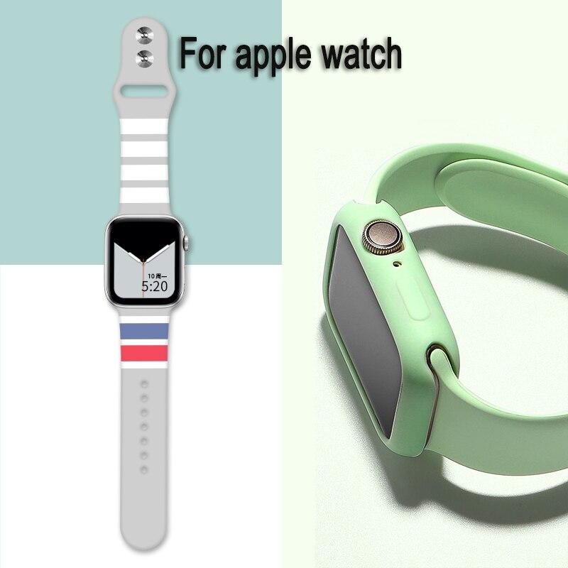 Silikon Fall für apple watch serie 5/4/3/2 stoßfest Schutz Für iwatch band ersetzen Strap 38mm 40mm 42mm 44mm zubehör