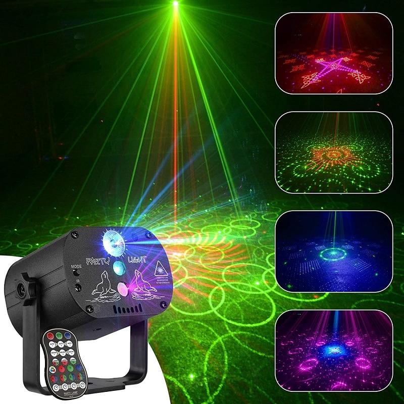 الصوت المنشط RGB الأضواء ديسكو ضوء مصطربة ديسكو DJ الكرة كشاف إضاءة للحفلات جهاز عرض ليزر المرحلة الترفيه ستروب فلاش