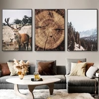 mountain landscape animal deer picture nature wood growth ring scandinavian poster nordic wall art canvas painting home decor
