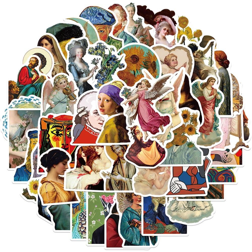Наклейки с изображением известных художников, классические картины «сделай сам» для мотоциклов, путешествий, чемодана, скейтборда, наклейк...