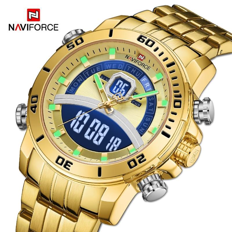 NAVIFORCE أفضل ماركة الرجال ديلوكس الذهب ساعة الأعمال الرقمية ساعة اليد العسكرية الرياضة الكوارتز الذكور ساعة الصلب مقاوم للماء على مدار الساعة