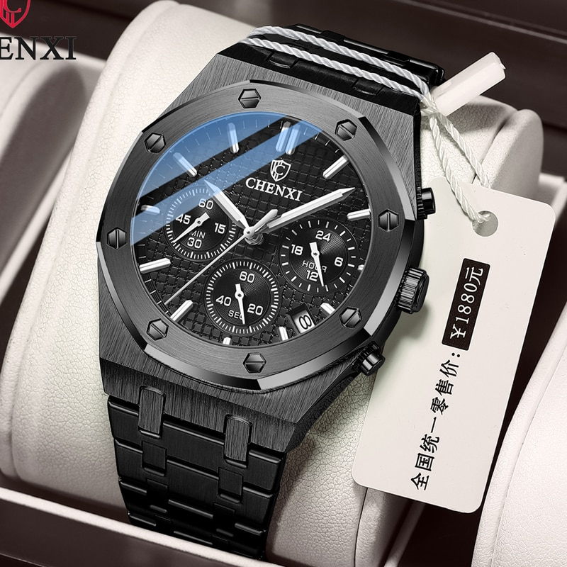 CHENXI New Fashion Luxury Men Watch Stainless Steel Multifunction Chronograph Sport Wrist Watches Fo