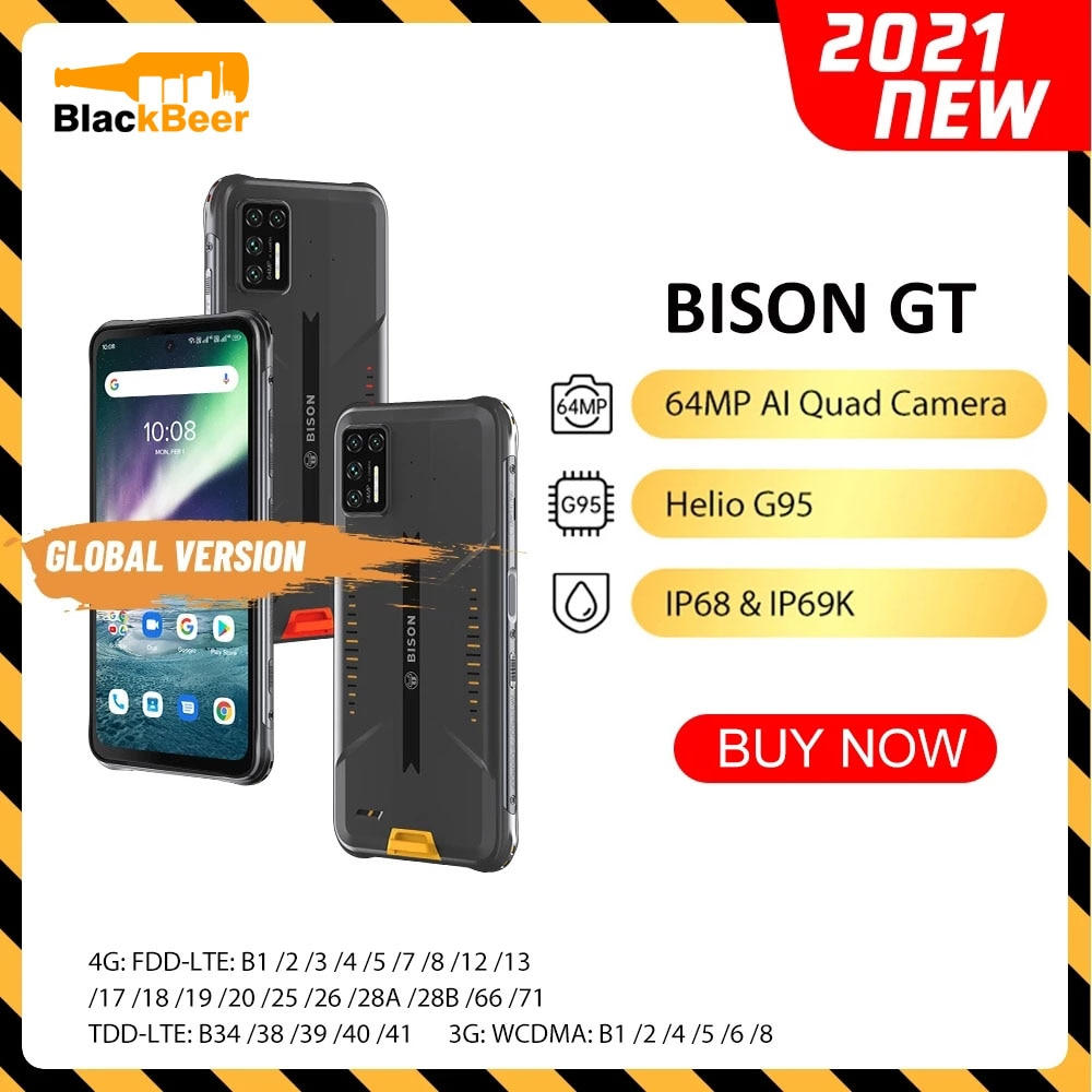 "UMIDIGI BISON GT 6.67"" Waterproof Rugged CellPhone IP68/IP69K Helio G95 MobilePhone 8GB+128GB Smartphone 64MP AI Quad Camera NFC"